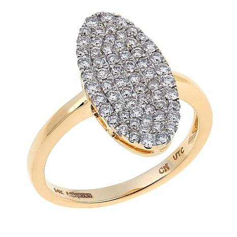 Ever Brilliant 0.55ctw Lab-Grown White Diamond Oval Cluster Ring