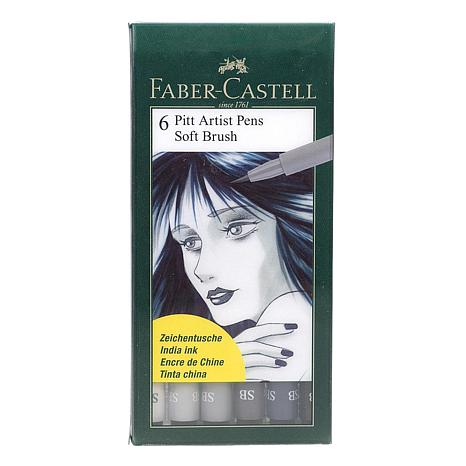 Faber-Castell Pitt Artist Pen Soft Brush Shades of Gray Set of 6