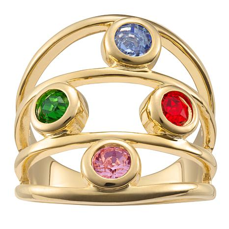 Family Crystal Birthstone Goldtone Negative-Space Ring - 4 Stones
