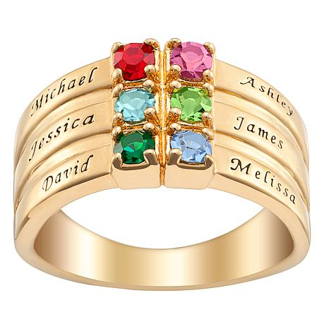 Family Name Crystal Birthstone Ring