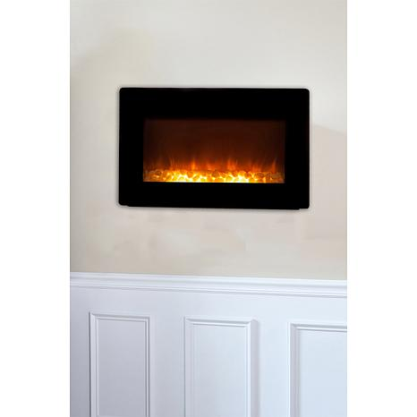 Black Wall-Mounted Electric Fireplace - 6580731 | HSN