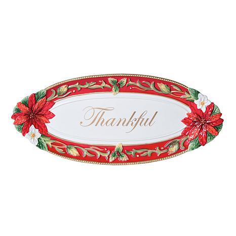 Fitz and Floyd Cardinal Christmas Bread Tray