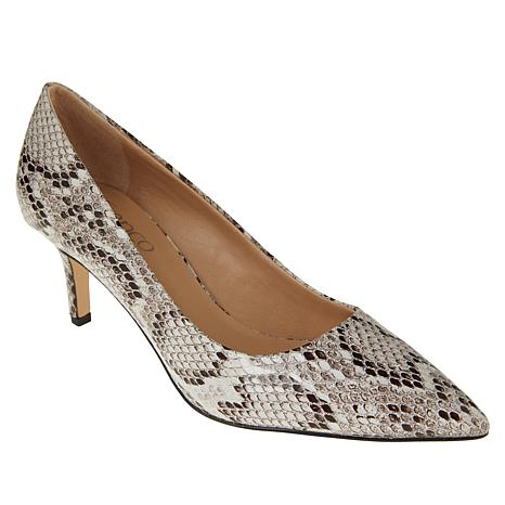 Franco Sarto Tudor Leather Snake-Print Pointed-Toe Pump