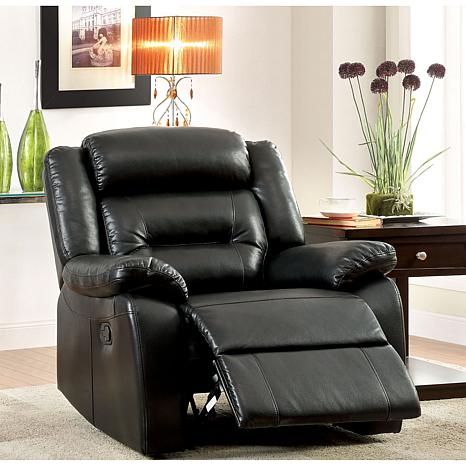 Furniture of America Gilbert Bonded Leather Recliner - Black
