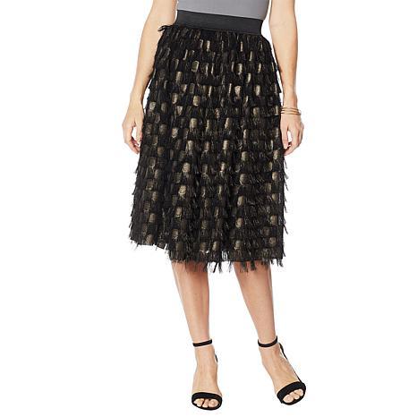 G by Giuliana Black Label Eyelash Feather Skirt