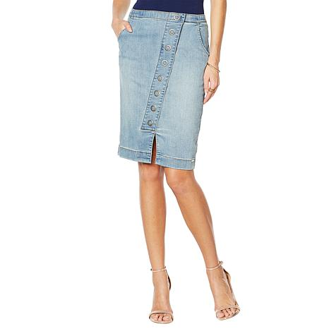 G by Giuliana Downtown Denim Snap-Front Denim Skirt