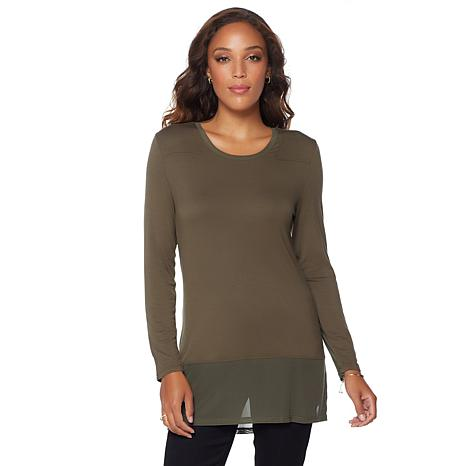 G by Giuliana Mesh Detail Long-Sleeve Top