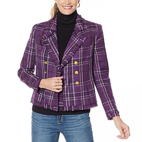 G by Giuliana Pieced Novelty Plaid Tweed Blazer