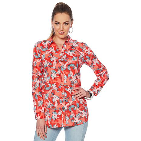 G by Giuliana Printed Button-Down Blouse