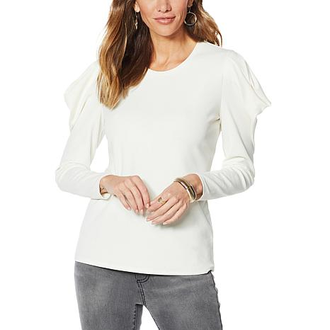G by Giuliana Puff Sleeve Crepe Knit Top