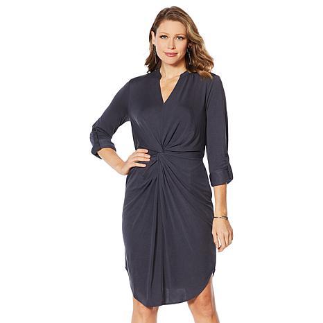 G by Giuliana Twist-Front Knit Shirt Dress