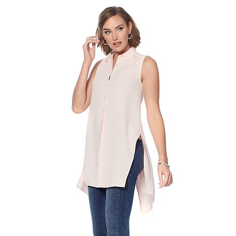 G by Giuliana Woven Hi-Low Tie-Front Blouse