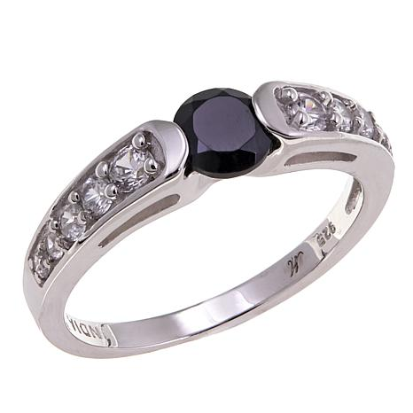 Gem RoManse by Robert Manse 0.86ctw Black Spinel & White Zircon Ring
