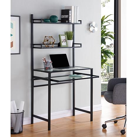 Gemma Metal Glass Small Space Desk With Hutch Black