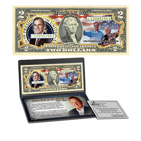George H.W. Bush Commemorative Colorized $2 Bill