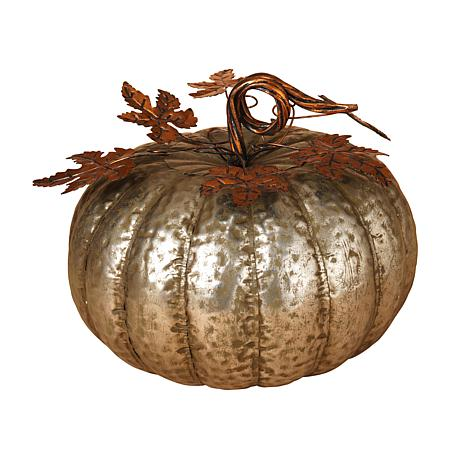 "Gerson 13-1/2"" Metal Harvest Pumpkin"