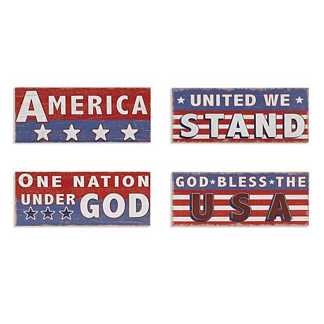 Gerson Assorted Wooden Americana Wall Décor 4-pack