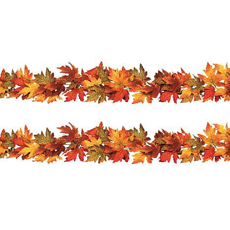 Gerson Company Set of 2 Maple Leaf Garlands - 6'