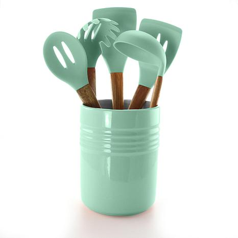 Gibson Coffee House 5-piece Kitchen Tools with Ceramic Crock in Mint