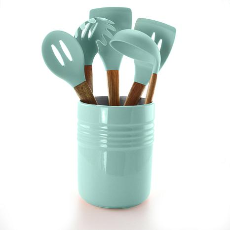 Gibson Coffee House 5pc Kitchen Tools with Ceramic Crock in Sky Blue