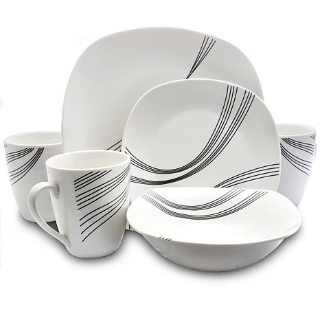 Gibson Curvation White16 Piece Soft Square Dinnerware Set