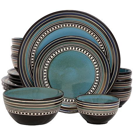 Gibson Elite Café Versailles 16-piece Double Bowl Dinnerware Set-Blue