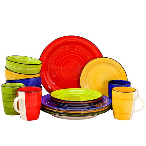 Gibson Home Color Vibes 16-piece Round Dinnerware Set- Assorted Colors