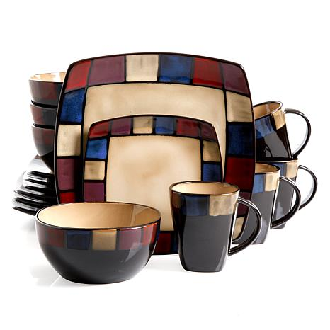 Gibson Soho Lounge Mosaic 16 Piece Soft Square  Dinnerware Set