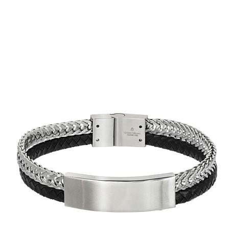 Milano Stainless Steel Ring.Giorgio Milano Men S Stainless Steel Black And Silvertone Bar