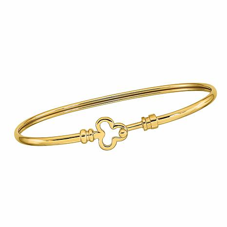 Golden Treasures 14K Gold Polished Flexible Clover Bangle Bracelet