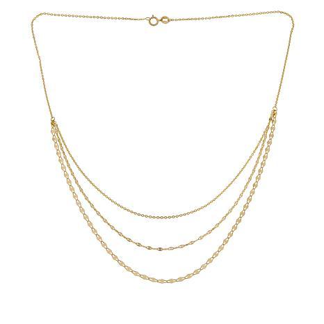Golden Treasures 14K Italian Gold 3-Strand Chain Layered Necklace