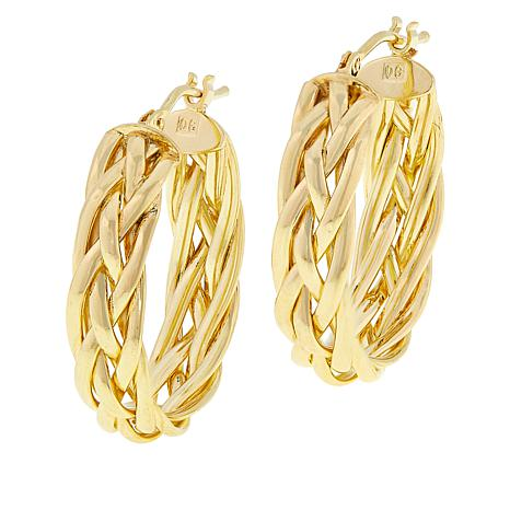 Golden Treasures 14K Italian Gold Braided Hoop Earrings