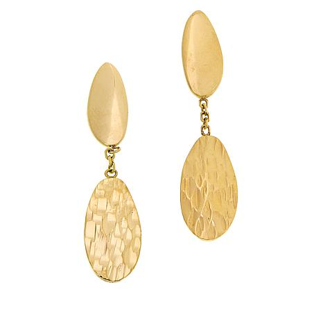 Golden Treasures 14K Italian Gold Oval-Design Dangle Earrings