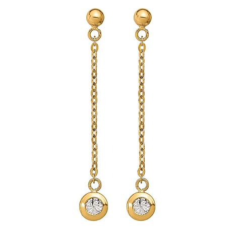 Golden Treasures 14K Two-Tone Diamond-Cut Dangle Earrings