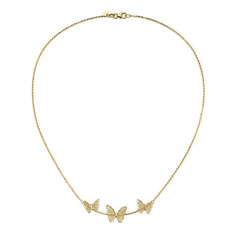 "Golden Treasures 18"" 14K Gold Polished Filigree 3-Butterfly Necklace"