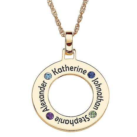 Goldtone Sterling Silver Family Birthstone Pendant