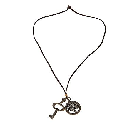 """Good Work(s) """"To Remain in Him"""" Tree and Key Leather Cord Necklace"""