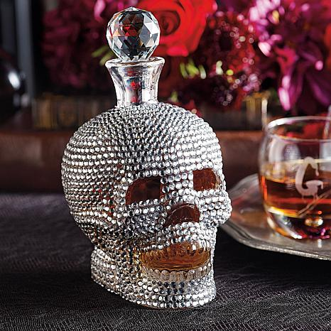 Grandin Road Jeweled Skull Decanter