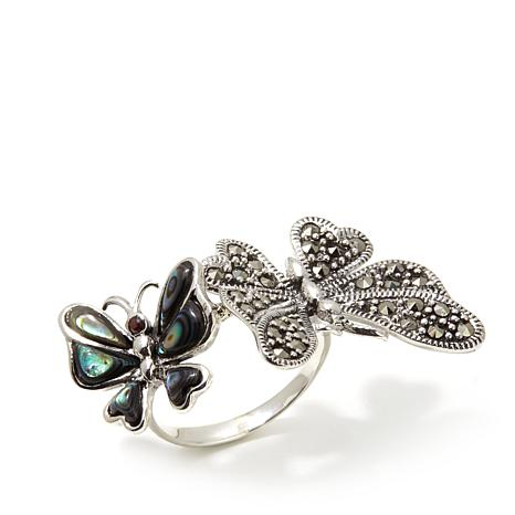 Gray Marcasite, Abalone & Garnet Double Butterfly Ring