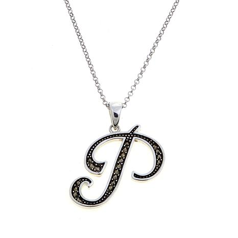 "Gray Marcasite Sterling Silver ""P"" Initial Pendant"