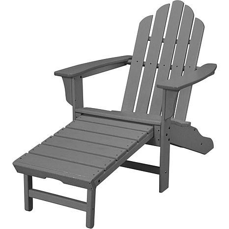 Hanover Adirondack Chair with Ottoman - Grey