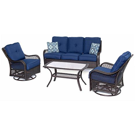 Hanover Orleans 4-Piece Brown Patio Set - Navy Blue