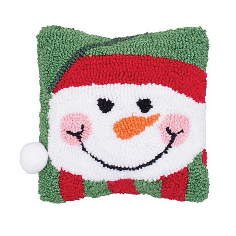 Happy Snowman Hooked Pillow
