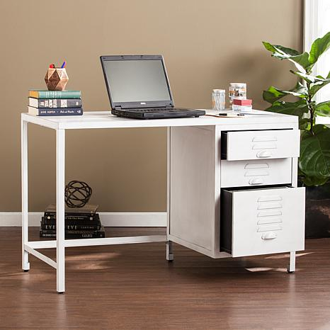 Hartford Industrial Wood/Metal Desk - Distressed White