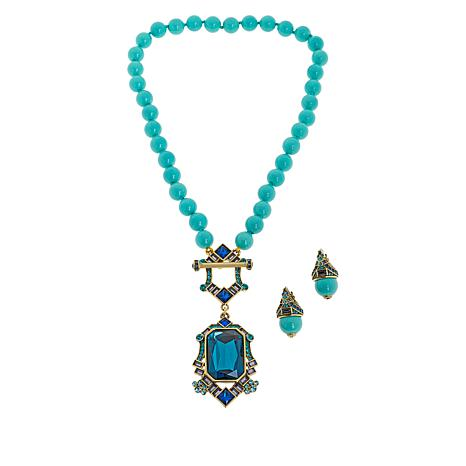 """Heidi Daus """"Deco Edition"""" Beaded Toggle Necklace and Earring Set"""