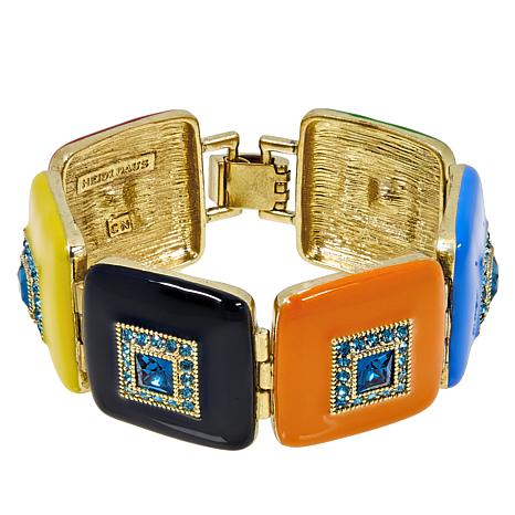 "Heidi Daus ""Deco-Lishish"" Crystal and Enamel Link Bracelet"