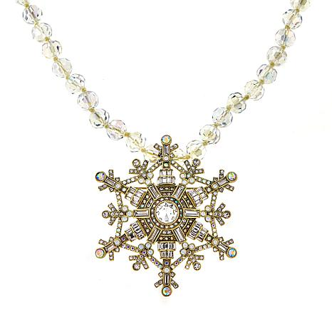 """Heidi Daus """"Deco the Halls"""" Pendant/Pin and Beaded Necklace"""