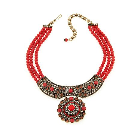 "Heidi Daus ""Exotic Artistry"" 3-Row Beaded Drop Necklace"