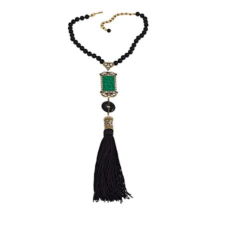 "Heidi Daus ""Exotique Chinoiserie"" Beaded Tassel Drop Necklace"