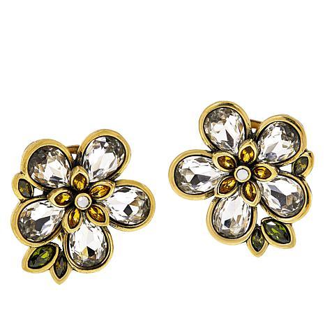 """Heidi Daus """"Flower Show"""" Crystal Stud Earrings"""